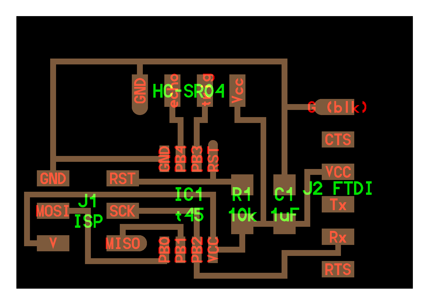 Vincentdupuis Hc Sr04 Schematic Additionally Reverse Switch Wiring Diagram It Is Based On A Attiny45 Microcontroller And Includes 6 Pin Header The Left Of Figure For Isp Programming As Well Ftdi