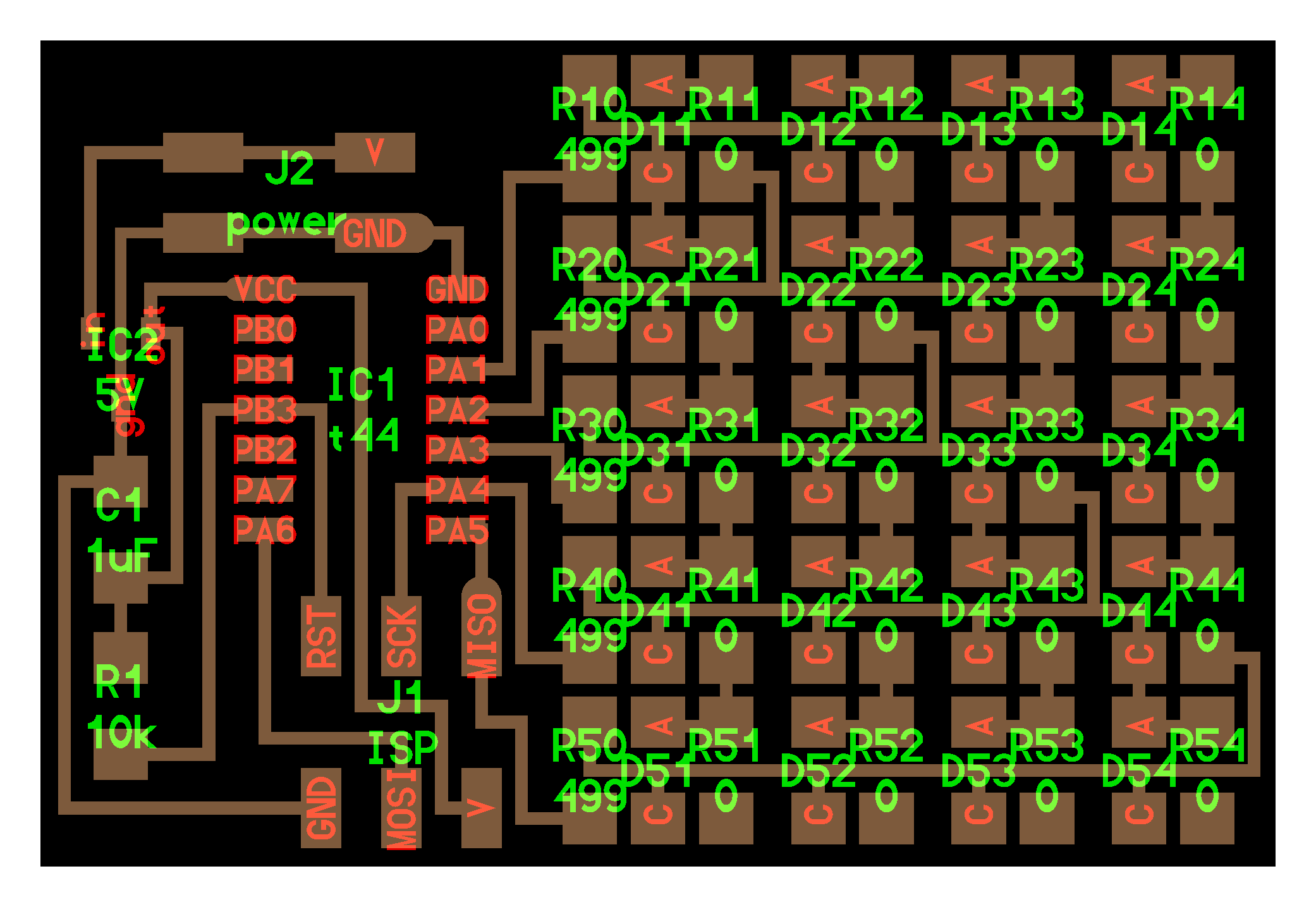 Output Devices Figure 2 Schematic View In Eagle Pcb Software I Used To Redesign The Board And Added A Button At Pa7 Of Attiny 44 Which Was Free Remaking
